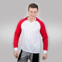 Футболка мужская с красными дл рукавами и капюшоном — 44 (S)
