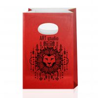 Крафт-пакет с вырубными ручками красный 14х7х21