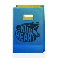Крафт-пакет с вырубными ручками синий 14х7х21