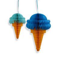 Набор помпонов в виде мороженного голубой 2 штуки (h30, h20см)
