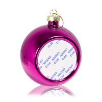 Шар елочный стекло розовый (со вставкой для сублимации D51мм) D80мм