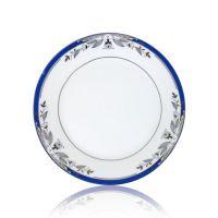 Тарелка керамика белая с орнаментом синие цветы 200мм